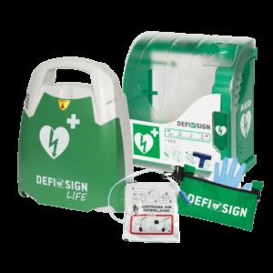 DefiSign AED hjertestarter med udendørs DefiSign 200 skab