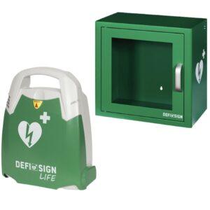 DefiSign AED Hjertestarter med indendørs hjertestarterskab