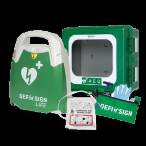 DefiSign AED hjertestarter med udendørs ARKY skab